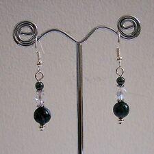 SALE 25% OFF New Grey Jasper & Hematite Gemstone Clear Czech Glass SP Earrings