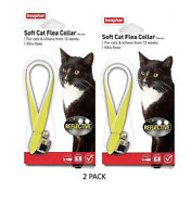 Beaphar REFLECTIVE Cat Flea Collar, Collars with bell, Yellow Twin Pack