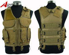 Tactical Military Combat Vest w/Pistol Gun Holster Airsoft Paintball Outdoor Tan