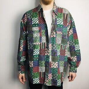 Vintage Avanti Retro Patterned Flannel Shirt Long Sleeve XL