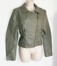 H&M SOFT GRAY FAUX LEATHER LINED DIAGONAL ZIP  CLASSIC BOMBER JACKET! LARGE