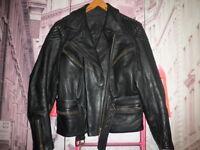 3/4 CUERO LOUIS MOTO PIEL VINTAGE CHAQUETA MOTORISTA LEATHER JACKET RIDERS- 42