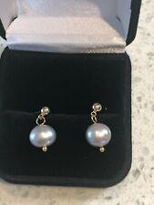 Gorgeous 8mm Natural Genuine Tahitian Pearl Drop Earrings in yellow gold