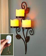 Vertical Scrolled Metal LED Wall Sconce w/ Remote Bedroom Home Decor