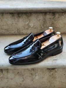 Handmade Men's Genuine Black Patent Leather Moccasin Slip on Shoes
