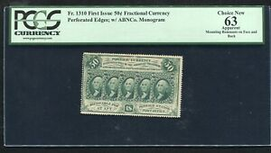 "FR. 1310 50 CENTS FIRST ISSUE FRACTIONAL CURRENCY NOTE ""PERFORATED"" PCGS UNC-63"