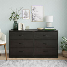 6 Drawer Dresser Furniture Bedroom Organizer Chest of Drawers, Black Oak Finish