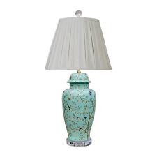 """Cute Sea Foam Green Bird Motif Porcelain Temple Jar Table Lamp 30"""""""