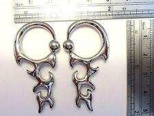Pair Stainless Surgical Steel Dangle Hoop Earrings 10 gauge 10g