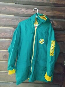 Vintage Game Day NFL Green Bay Packers Rain Coat Jacket Parka Lined Tailgate