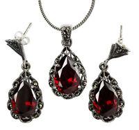 Granat diverse Längen Schmuckset mit Halskette und Armband Tonne 925 Silber