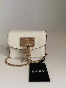 DKNY Elissa Micro Mini Crossbody Purse Bag White/Gold NWT