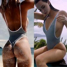 One Piece Women V Neck Thong Bikini Monokini Swimsuit Swimwear Bathing Beachwear