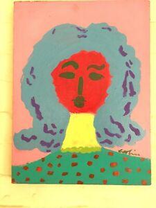 Fantastic Outsider Artist GEORGE COLIN Portrait of a Woman w Blue Hair ca 1991