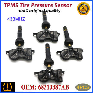 4X New 68313387AB TPMS Tire Pressure Sensor for 17-19 CHRYSLER PACIFICA 433 MHz
