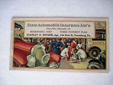 "Vintage Advertising Blotter for ""State Automobile Insurance"" w/ Car Accident *"