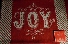 4 Joy Tapestry Woven Cloth Christmas Holiday Placemats Red White W8