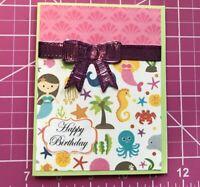 Birthday Card Love The Ocean Animals And Mermaids Sparkle Ribbon Handmade