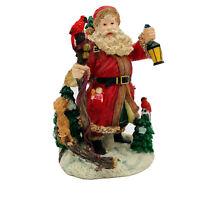 "Macys Holiday Lane Santa Claus Poly Resin Figurine Holding Lantern & Staff 8"""