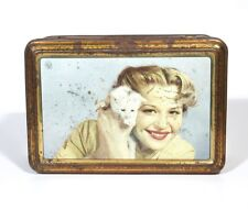 Vintage French Candy Tin Box, Woman and Kitten, Cat, Costumes of France