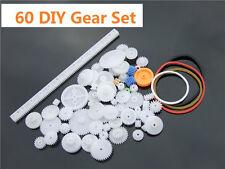 60 pcs Plastic Gear Set DIY Rack Pulley Belt Worm Single Double Gears K012