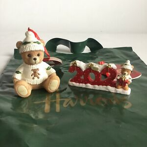 Harrods Resin Bears Two Christmas Decorations 2021 With Bag