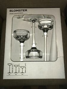 IKEA Blomster Candle Holder Set of 3 Clear Glass 901.674.39