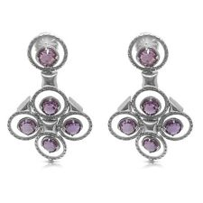 Tacori 18k White Gold and Sterling Silver and Amethyst Chandelier Earrings