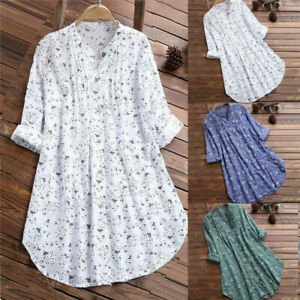 Womens Summer Floral Button T Shirt Ladies Casual Baggy Tunic Tops Blouse Beach