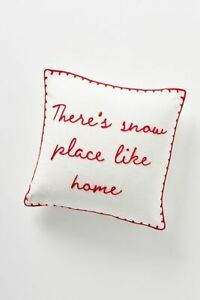 "Anthropologie Pillow SNOW PLACE LIKE HOME 18"" Decor Winter Embroidered Red NWT"