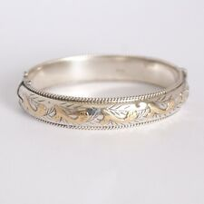 Antique Sterling & Rose Gold  Accent Bangle Bracelet Signed Hallmarks