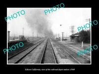 OLD LARGE HISTORIC PHOTO OF EDISON CALIFORNIA, THE RAILROAD DEPOT STATION c1940