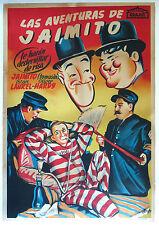 LAUREL and HARDY movie poster 1940s SPANISH Larry Semon JAIMITO ZIGOTO V. RARE