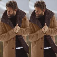 Men's Sheep Jacket Winter Woolen Lined Lamb Coat Parka Overcoat Outwear Warm