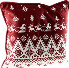 Red White Nordic Scandinavian Style Santa Sleigh Christmas Cushion
