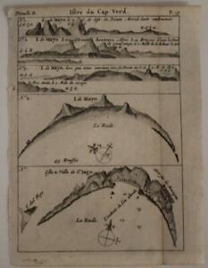 CAPE VERDE ISLANDS 1712 WILLIAM DAMPIER UNUSUAL ANTIQUE COPPER ENGRAVED MAP