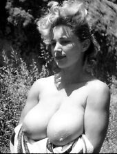 1960s Nude Pinup Virginia Bell Holding towel under her breasts 8 x 10 Photograph