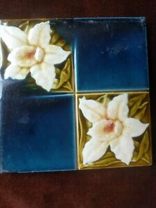 Antique Victorian Floral Tile Circa 1890's