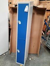Metal blue and grey 2 door locker with keys
