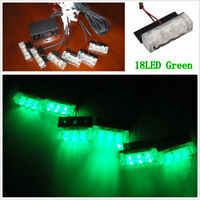 18 LED Single Green Car Police Strobe Flash Light Emergeny Warning Safety Lamp