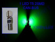 Lampadina a LED T5 SMD VERDI ZOCCOLO CRUSCOTTO QUADRO STRUMENTI CANBUS 1,2W 12V!
