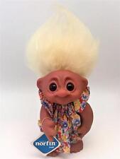 Sweet Vintage 1977 Thomas Dam FLO Norfin Troll w/ Floral Dress White Hair & Tag