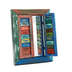 Rustic Painted Shutters Mirror