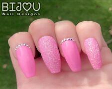 Set of 20 Press On Nails Pink Loose Sugar Glitter Crystal Fake False Christmas