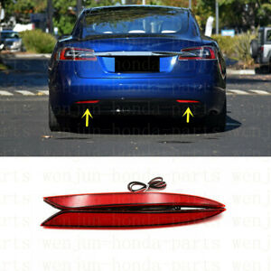 2PCS LED Rear Bumper Brake Light Reflector Lamp Refit For Tesla Model S Model X