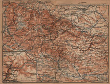 HARZ MOUNTAINS topo-map. Harzgerode. Halberstadt Nordhausen karte 1904 old