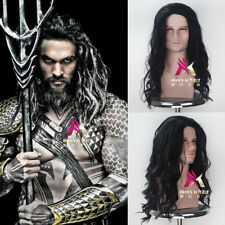 Aquaman Arthur Curry Long Curly Black and White Movie Cosplay Halloween Wig