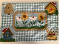 4pc Set Quilted Cloth Place Mats Handmade Floral,Bees,Birds,Trees,Pail Vintage