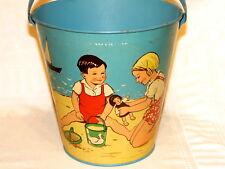 German Children's Seaside Beach Sand Pail Toy Tin 1950s