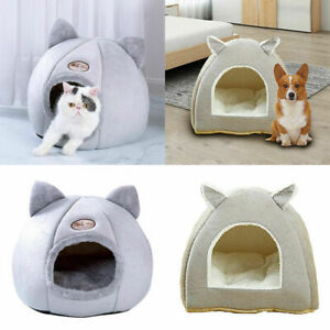 Pet Nest Dog Cat Nesting Bed Puppy Warm Cushion Cave Kennel Basket Canopy House